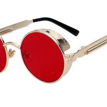 Gothic Steampunk Mens Sunglasses Coating Mirrored