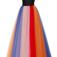 Sleeveless Gown With Pleated Tulle Skirt | Moda Operandi