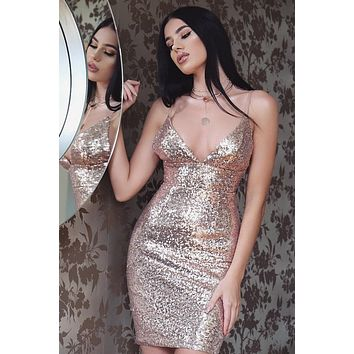 Pure Bright Color Deep V neck Spaghetti Straps Sequins Short Dress