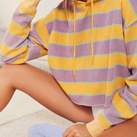DCCKJN6 Out From Under Striped Cropped Hoodie Sweatshirt | Urban Outfitters