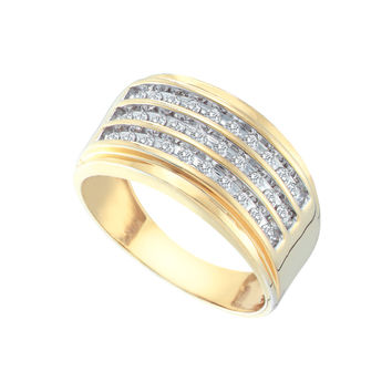 Diamond Cluster Mens Band in 10k Gold 0.52 ctw