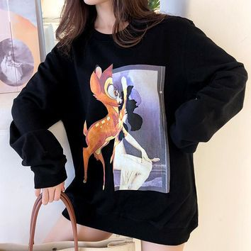 Givenchy Fashion Women Casual Cute Deer Print Long Sleeve Round Collar Sweater Top Sweatshirt