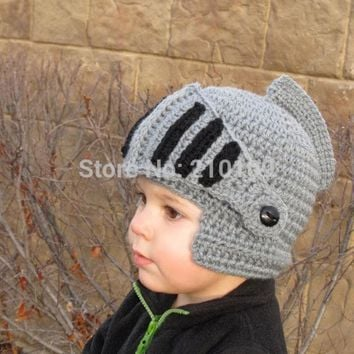 ESBONJ Mr.Kooky Novelty Children Roman Knight Armor Caps Cool Cute Winter Handmade Knitted Hats Helmet Baby Boy Girl Crocheted Beanies
