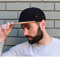Black with Suede Brim 5-Panel Hat