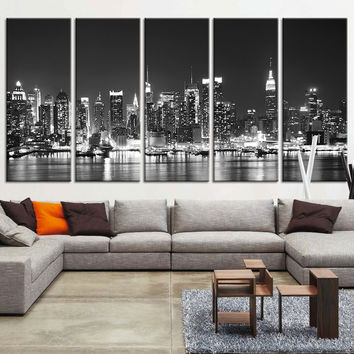 Canvas Art Print New York Night Panorama, Large Wall Art New York Art Reflections, New York City night skyline panorama over Hudson river