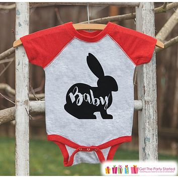 Kids Spring Outfit - Baby Bunny Shirt or Onepiece - Bunny Silhouette Family Shirts - Baby, Newborn, Infant - Easter Sibling Shirts - Red