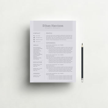 Resume Template and Cover Letter Template for Word | Professional and Modern Resume Template | Instant Download | Mac or Pc | Black, Gray