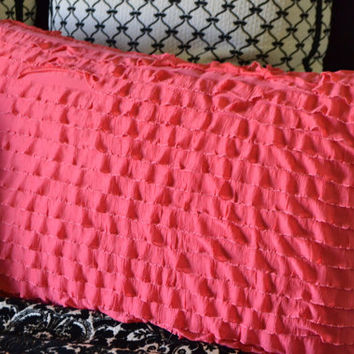 Custom Ruffled Euro Pillow Sham, Coral Pink, or You pick the Color