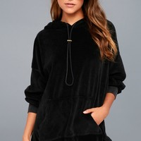 Toggle Black Velour Hoodie Dress