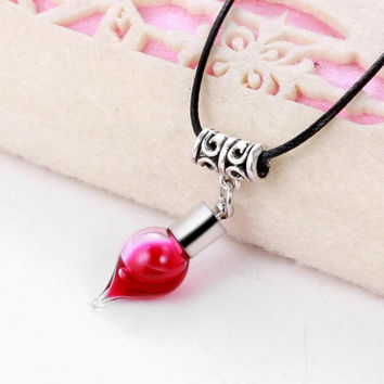 Vampire Red Blood Glass Bottle Pendant Choker Necklace