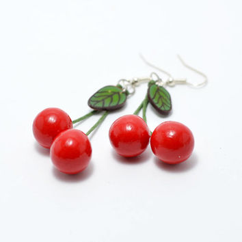 Red Cherry Earrings / handmade polymer clay / Dangling Cherries/ for women /  Dangle Earrings / gift idea / bright jewelry