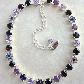 Swarovski crystal necklace set, purples and black, buy as set or individual pieces, better than sabika