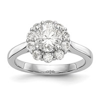 14k White Gold Round Halo Simulated Diamond Engagement Ring