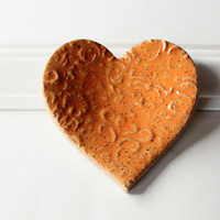 Wedding Heart Speckled Clay Ring Dish
