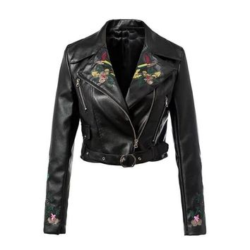 Gothic Chic Cool Floral Embroidery PU Jackets