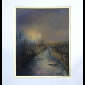 Pastel drawing sunset over a river, Painting of a sunset, Surreal landscape painting of a sun setting over a creek, gold color, purple, blue