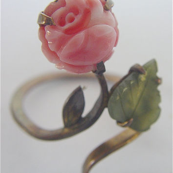 Coral Jade Ring Flower Gold Fancy Leaf Vintage by VillaCollezione