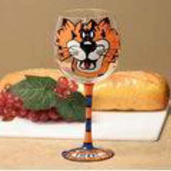 Auburn Tigers NCAA Pair of Hand Painted 12oz. Wine Glass (Set of 2)
