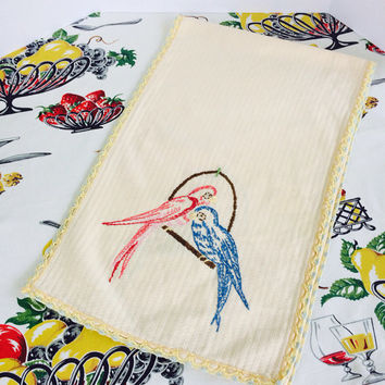 1950s Embroidered Table Runner Dresser Scarff Pale Yellow Embroidered Blue Pink Birds Parakeets  Crochet Tatted Trim Vintage Linens