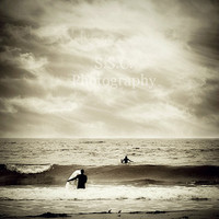 "Surfer Photo. Surf. Surfing. Ocean. Waves. Sea. Clouds. Sky. Dark. Black. White. Gray. Silver. 8x8. ""Steel Sea"""