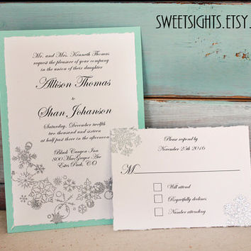 Snowflake wedding invitation, winter wedding invitation, winter wonderland invitation, aqua, silver, winter themed invitation, invite sample