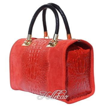 Italian Red Genuine Leather Handbag with Crochodile Skin Deco