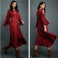 """Free People"" Fashion Solid Color Retro Hollow Strappy Long Sleeve Maxi Dress"