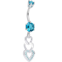 925 Sterling Silver Aqua CZ Triple Hollow Hearts Dangle Belly Ring | Body Candy Body Jewelry