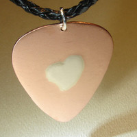 Copper Guitar Pick Pendant with Silver Heart in by NiciLaskin