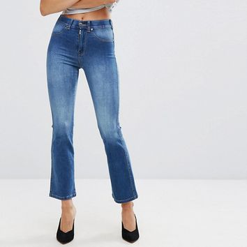Dr Denim Holly Mid Rise Crop Flare Jean at asos.com