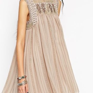 Free People Baby Doll Dress with Embellishment