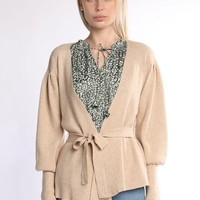 Puff Sleeve Cardigan With Waist Tie