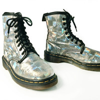 90's Rainbow Holographic Dr. Martens Lace Up Boots