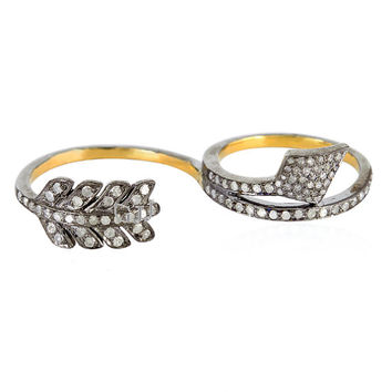 14 K Gold and Sterling Silver Pave Diamond Two Finger Ring Sterling Silver Studded with Natural Diamond Ring jewelry