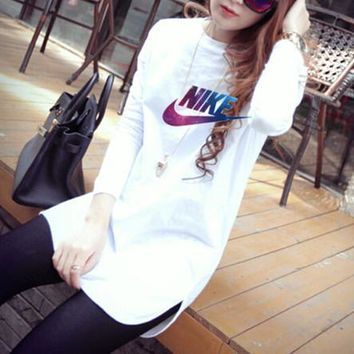 nike women simple fashion galaxy letter print long sleeve t shirt irregular middle long section bottoming tops