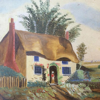 Vintage Primitive Oil Painting Landscape Thatched Cottage home Countryside Outsider Wall Art Original Unframed signed Art Board Folk Art