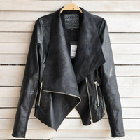 Women Leisure Tops Jacket Female Lapel Blazer PU Leather Punk Zipper Coat european outwears