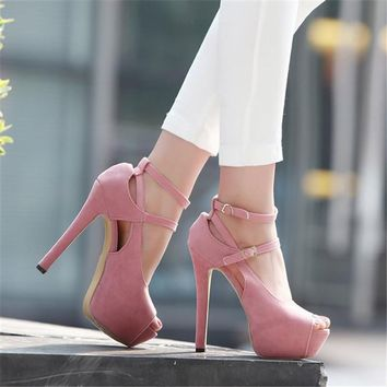 Shoes Woman Pumps Cross-tied Ankle Strap Wedding Party Shoes Pointed toe Dress Women Shoes High Heels Suede Ladies Shoes