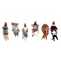 Holiday Felted Wool Dog Ornaments - 6 Styles