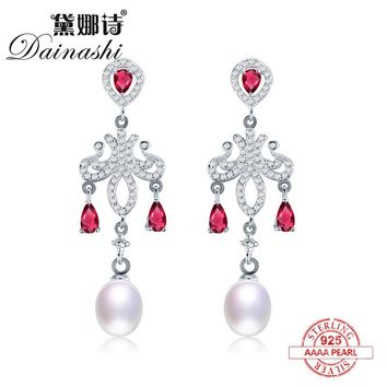 Dainashi vintage Modeling unique 925 sterling silver drop shape colorful high quality pearl earrings with ruby fine jewelry