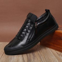 Men's Handmade Genuine Leather Casual High Top Shoes Black