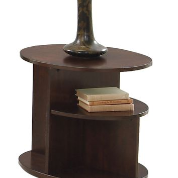 Metropolian Contemporary Oval End Table Dark Cherry & Birch