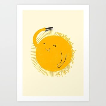 Here comes the sun Art Print by I Love Doodle