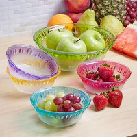 Vintage Glass Bowl Set 5 Pce Salad Snacks Dessert Colored Rim Apple Design Retro