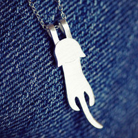 HandMade Cute Cat 925 Sterling Silver Necklace
