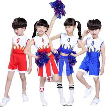 Kids Boys School Uniform Cheerleading Costumes Game Performance Dance Wear Sleeveless Girls T-shirt Cosplay Cheerleader Dress