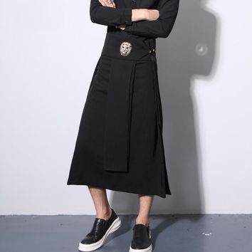 Hot! Men night club singer stage dress pants apron womens harajuku punk hip hop pants costume hairstylist gothic swag trousers
