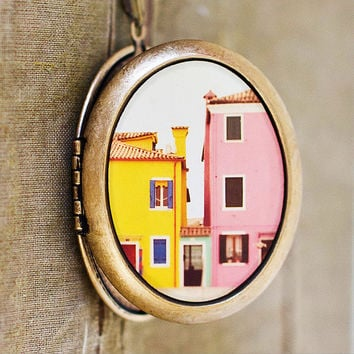 Photo Locket  C'mon Get Happy  Pastel Houses by HeartworksByLori