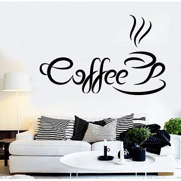 Vinyl Decal Coffee Quote Coffee Time Wall Sticker Kitchen Cafe Shop Restaurant Decoration Unique Gift (ig2427)
