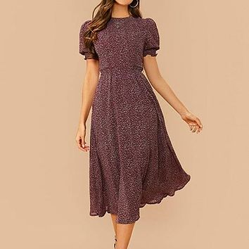 All Over Print Flared Frill Boho Dress With Belt Women Summer Holiday High Waist Puff Sleeve Shirred A Line Midi Dresses